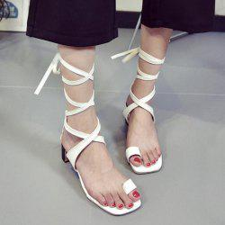 Lace Up Toe Ring Faux Leather Sandals