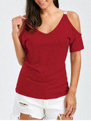 V Neck Cold Shoulder Tee