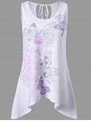 Cut Out Floral Tie Back Tank Top - WHITE 2XL