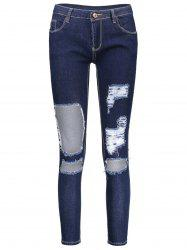 Cut Out Skinny Distressed Jeans - DEEP BLUE