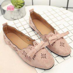 Bowknot Hollow Out Flat Shoes - PINK