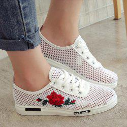 Mesh Rose Emboridered Skate Shoes - RED
