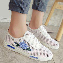 Mesh Rose Emboridered Skate Shoes - BLUE