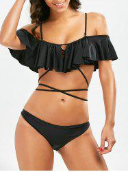 Lace-Up Ruffle Bikini Set