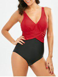 One Piece Two Tone Backless Swimsuit