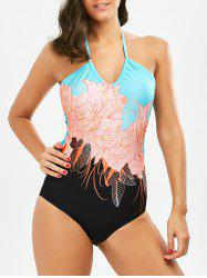 Floral Halter Cut Out Swimsuit