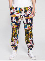 Abstract Print Drawstring Cotton Linen Jogger Pants