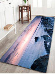 Sea Print Skidproof Flannel Bathroom Rug