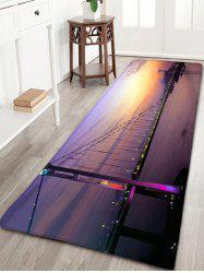 Night Scene Print Flannel Skidproof Bathroom Rug