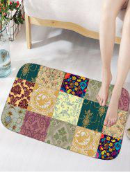Plaid Flower Skidproof Flannel Bathroom Rug
