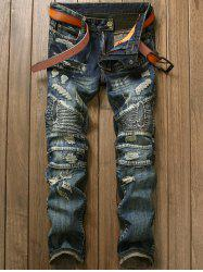 Repaired Straight Leg Biker Jeans - DENIM BLUE