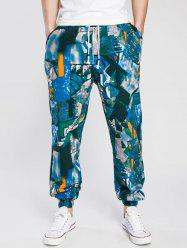 Drawstring Cotton Linen Color Block Print Jogger Pants - Vert