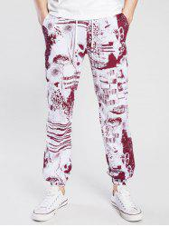 Drawstring Cotton Linen Scrawl Print Beam Feet Jogger Pants