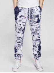 Drawstring Cotton Linen Scrawl Print Beam Feet Jogger Pants - CADETBLUE