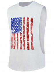 4th of July Workout Distressed American Flag Tank Top - WHITE