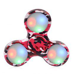 Patterned Plastic Fidget Spinner with Flashing LED Lights - RED