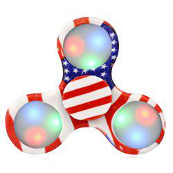Patterned Plastic Fidget Spinner with Flashing LED Lights - RED STRIPE