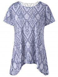 Lace Panel Printed Asymmetrical T-Shirt