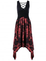 Lace-Up Tie Dye Asymmetrical Dress