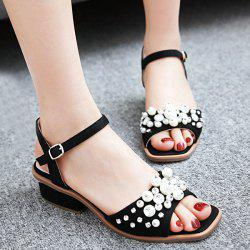 Rhinestone Beaded Suede Sandals