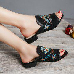 Bird Embroidered Suede Slipper
