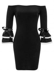 Ruffle Off The Shoulder Skin Tight Dress -