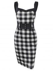 Button Detail Plaid Fitted Dress - WHITE AND BLACK