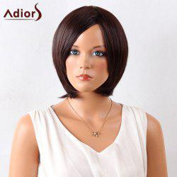 Adiors Short Straight Bob Side Bang Synthetic Wig - MAROON