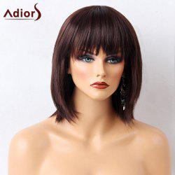 Adiors Full Bang Silky Short Straight Bob Synthetic Wig - MAROON