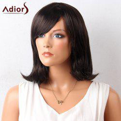Adiors Medium Oblique Bang Straight Lob Synthetic Wig - BLACK