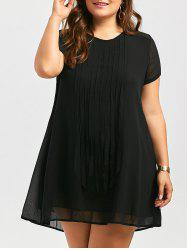 Robe Mini Fringed Plus Size - Noir 3XL