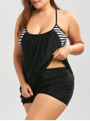 Plus Size Stripe Panel Boxer Blouson Tankini - BLACK
