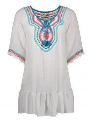 Flounce Embroidered Mini Cover Up Dress