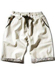 Pockets Contrast Trim Drawstring Shorts