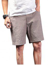 Vertical Striped Zip Fly Shorts