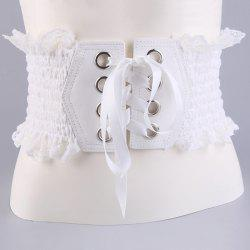 Metal Circles Lace Up Elastic Wide Corset Belt