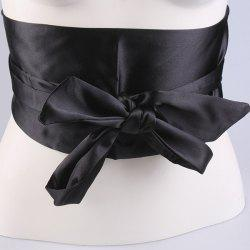 Wide Imitation Silk Ribbon Corset Belt - BLACK