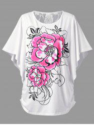 Plus Size Lace Panel Butterfly Sleeve T-Shirt
