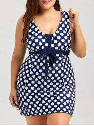Polka Dot Plus Size Skirted Swimsuit