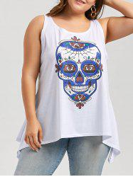 Plus Size Skull Print Sleeveless Top