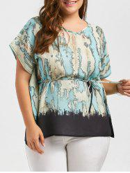 Plus Size Printed Chiffon Top With Belt