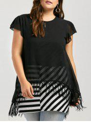 Plus Size Tassel Striped Tunic Top