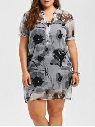 Plus Size Sheer Chiffon Floral Dress and Camisole Dress
