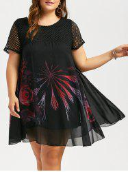 Fishnet Panel Plus Size Mini Floral Chiffon Dress - BLACK
