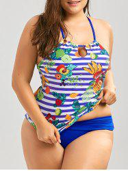 Cross Back Tropical Fruit Plus Size Tankini Set