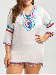 Fringe Plus Size Crochet Panel Tunic Cover Up