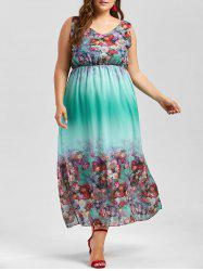 Plus Size Floral Sleeveless Maxi Dress