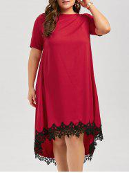 Plus Size Lace Trim High Low  Swing Dress