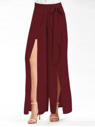 Tie Belt High Slit Wide Leg Pants