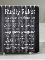 Family Rules Waterproof Fabric Shower Curtain